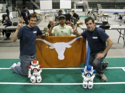 Graduate Students and Austin Villa Team members (Left to Right), Todd Hester, Mohan Sridharan and Michael Quinlan at the 2009 RoboCup US Open Championship.