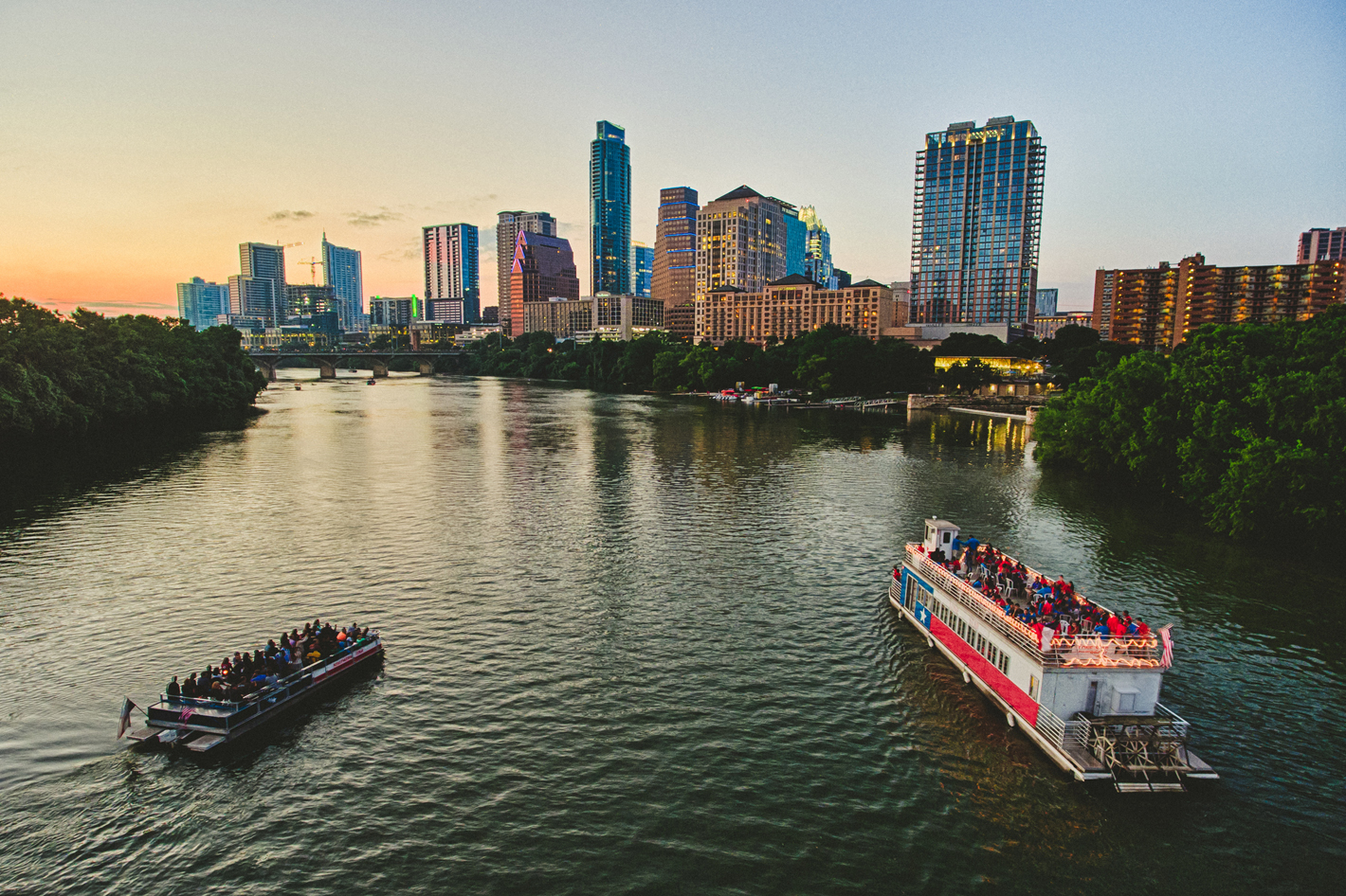 Boats on Lady Bird Lake in Austin, TX