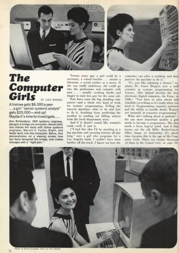 "April, 1967 issue of Cosmopolitan, ""The Computer Girls"""