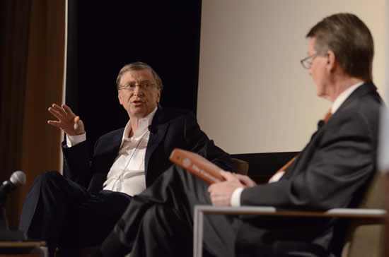 Bill Gates speaks to students about the Gates Foundation's work. [Photo by Marsha Miller]
