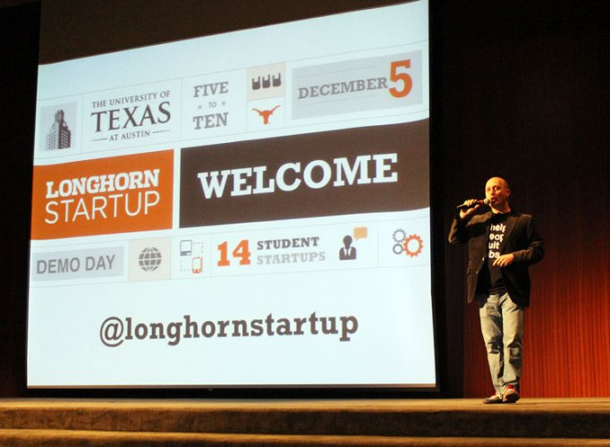 Joshua Baer, Capital Factory founder and Longhorn Startup mentor, welcomes participants to 2013 Longhorn Startup Demo Day. [Photo courtesy of the Center for Lifelong Engineering Education]