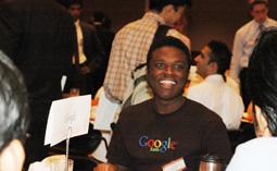 Google representative, Delapo Falola, speaks with students.
