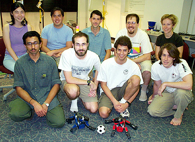 "(back row) Ellie Lin, Nick Jong, Peter Stone, Kurt Dresner, Peggy Fidelman (front row) Mohan Sridharan, Nate Kohl, Dan Stronger, Chris Lundberg Not shown - Greg Kuhlmann, Pradeep Desai and other students from the fall CS395T class ""Multi-Robot Systems""; Simulation Team - Justin Lallinger."