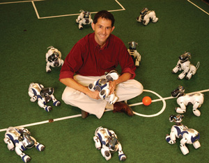 Dr. Peter Stone on the robot soccer field