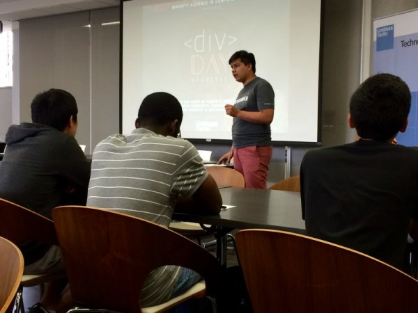 UTCS graduate student and MACS member Juan Sequeda talks to the students about the importance of diversity in the technology field.