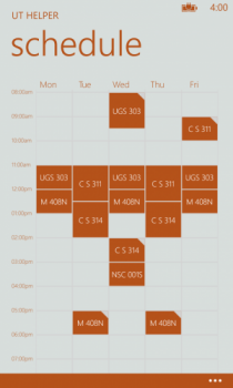 Screen shot of UT Helper app's schedule feature