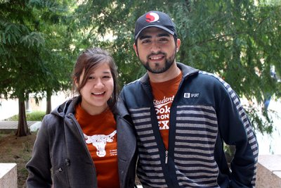 UT Computer Science freshmen Melanie Rivera (left) and Mustafa Taleb (right).