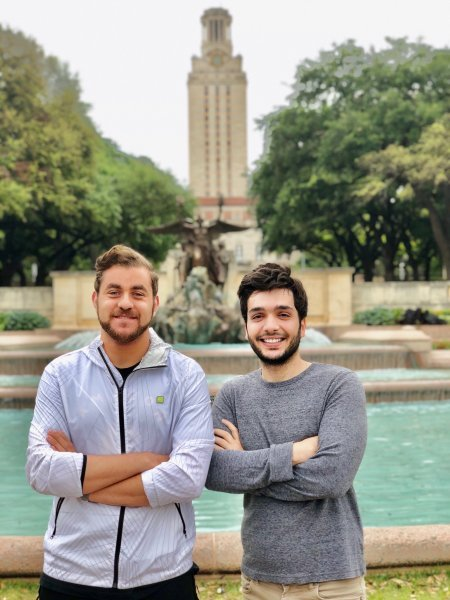Amir Mostafavi and Ali Ajam in front of the UT Austin tower