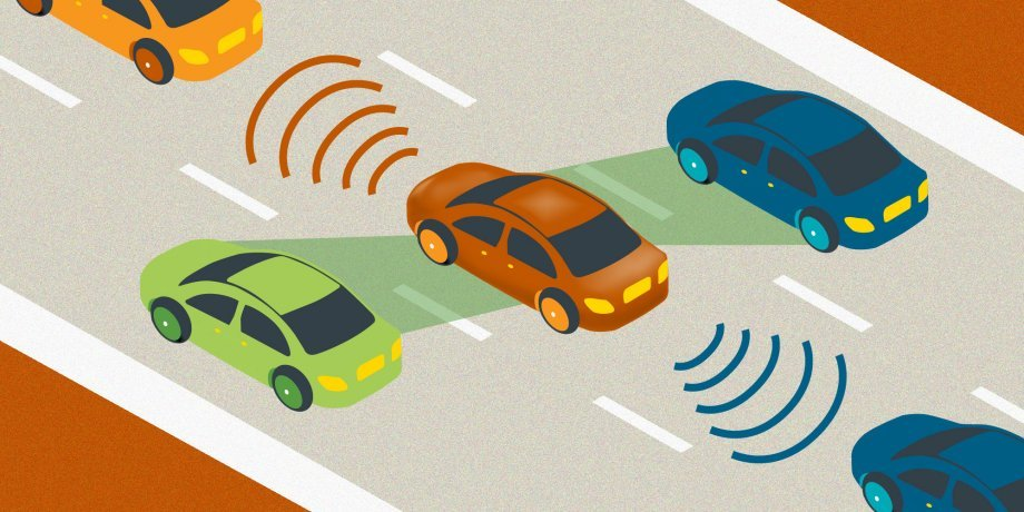 Illustration of automated car driving down three lane road, sensing cars around it.