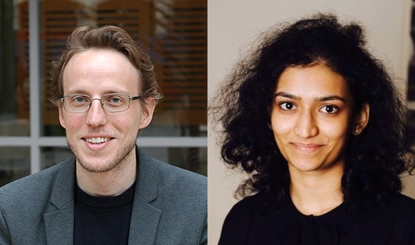 Alex Huth (left), assistant professor of Neuroscience and Computer Science at the University of Texas at Austin. Shailee Jain (right), a Computer Science PhD student at the Huth Lab.