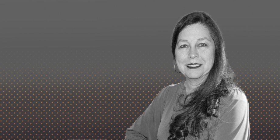 Black and white photo of Romelia Flores.