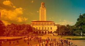 UT Tower and south mall with gradient overlay