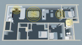 Aerial view of gray scale home layout with sound wave graphics in yellow