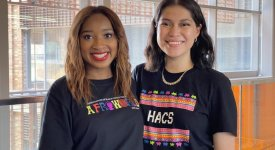 Computer science seniors Audra Collins and América Quistiano