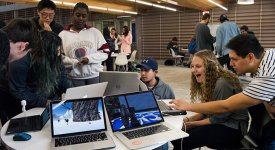 Students showcase their games during Digital Demo Day. Photo by Jennifer Reel.