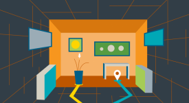 Illustration of a room and all of the items in it as obstacles to navigate around.