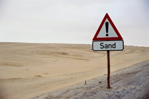 Sand is in the desert.