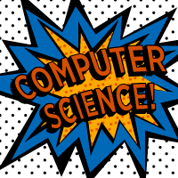 Computer science with Kapow explosion graphic