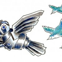 Drawing of robot bird flying with flock of real birds